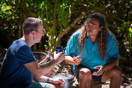 Kuku-Yalanji-man-Linc-Walker-shows-local-bush-medicine-to-Port-Douglas-pharmacist-Brad-Rei