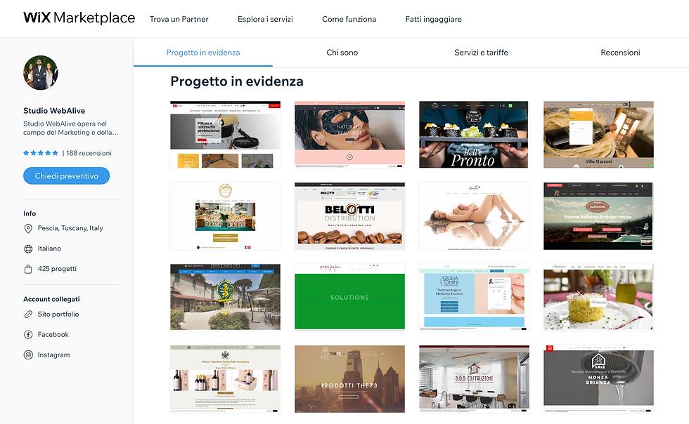 agenzia wix per l'italia - immagine pubblica del profilo del marketplace