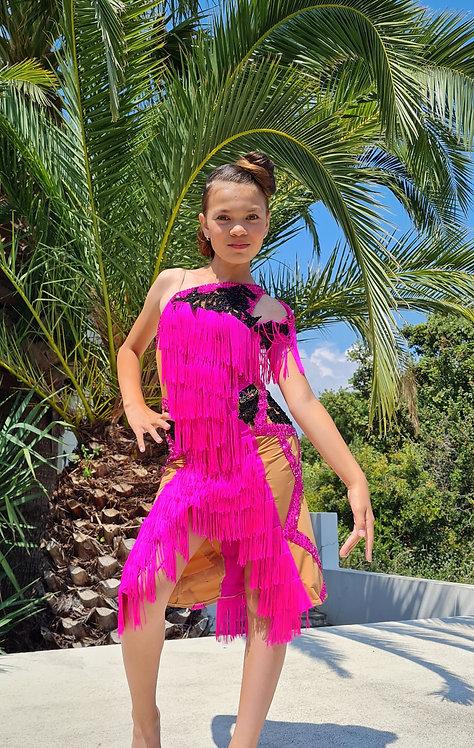 Latin junior dress with rhinestones