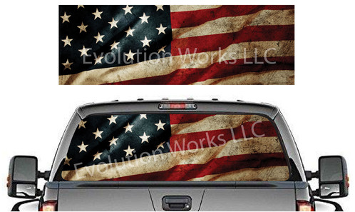 Vintage American Flag Rear Truck Window Graphic Robertson Racing - Rear window decals for trucks