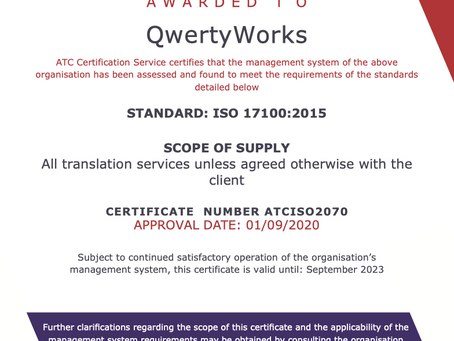 We are now ISO17100 certified!