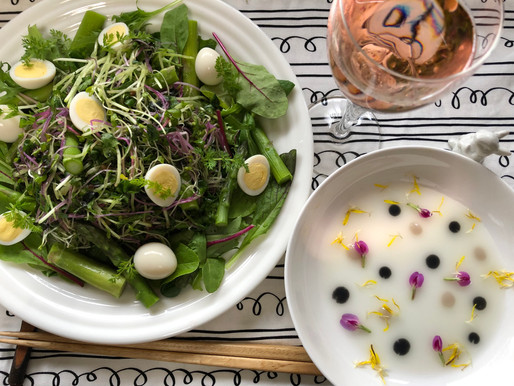 春の芽♪芽♪芽♪スタートナムルサラダ 黒麹甘酒+カルピスドレッシング添え