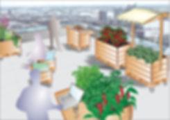 Dachterrasse Firmenhocbeete im BGM