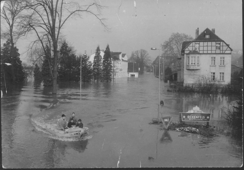 Rheinhochwasser Linz 1970