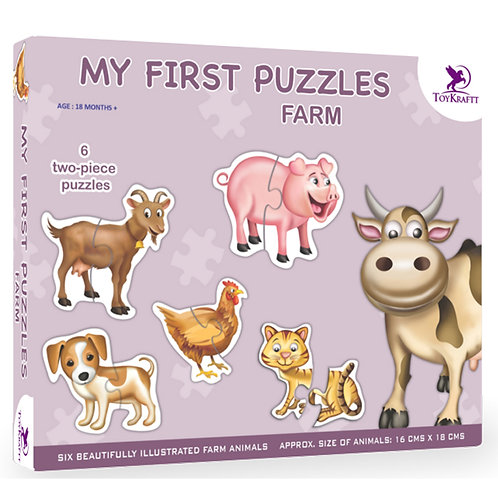 My First Puzzle - Farm Animals - 6 Chunky Self-Correcting Matching Puzzles