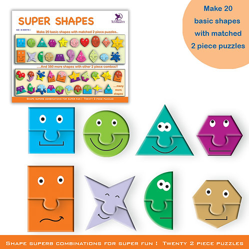 Super Shapes - 40 Jigsaw Pieces for Ages 4 5 6 - Learn Shapes For Preschoolers