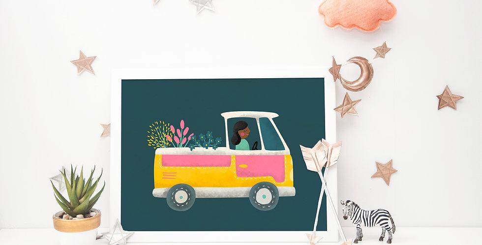 Watercolor Flower Truck Print