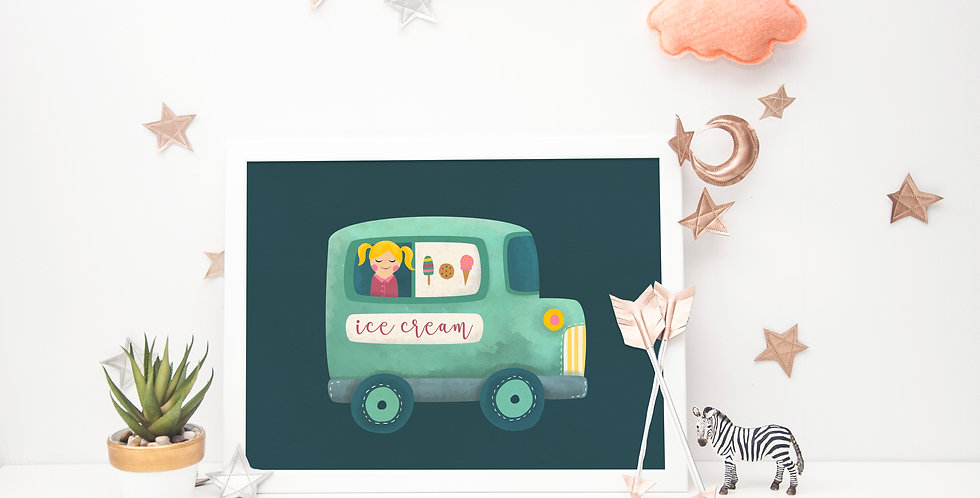 Watercolor Ice Cream Truck Print