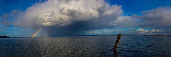 Rolling Bay Rainbow - Bainbridge Island. Panoramic photography by Richard Malzahn