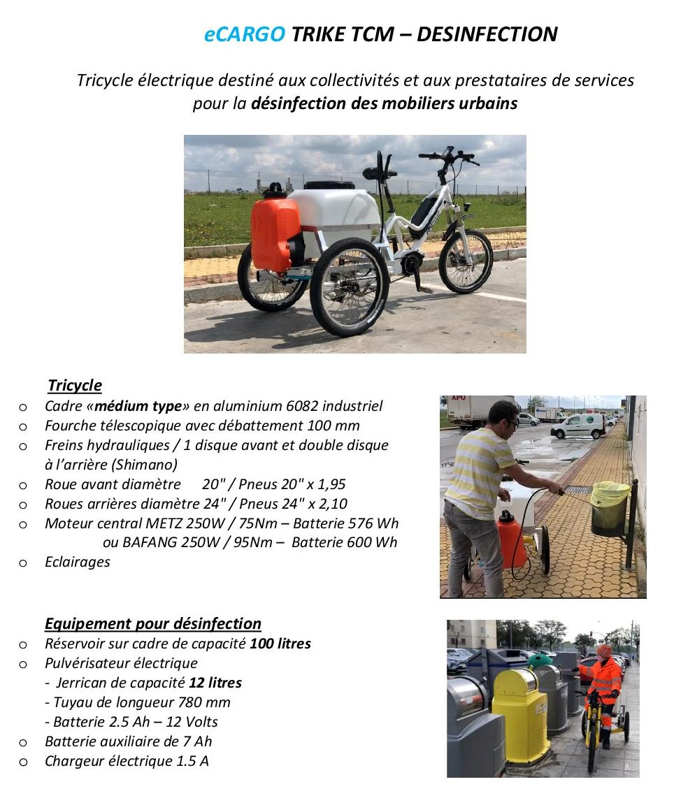 Tricycle désinfection mobilier urbain