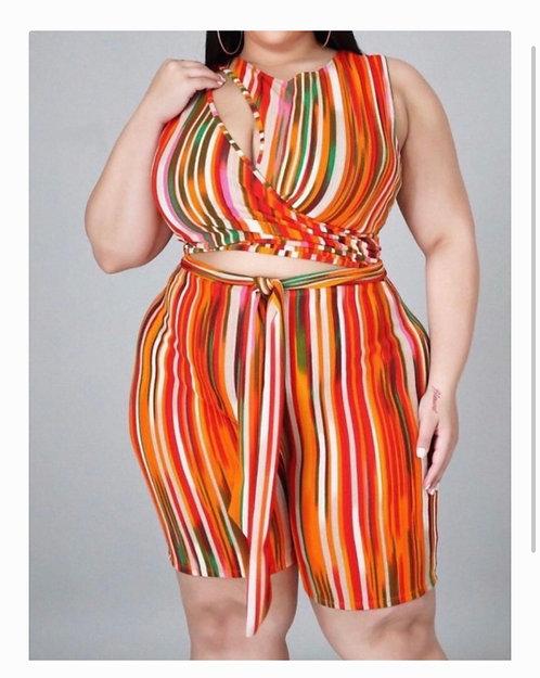 Flaunt It Striped Peep Middle Short Romper