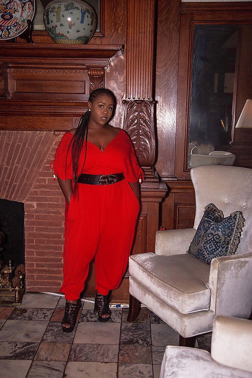 Kurvy Sexy Red Jumpsuit