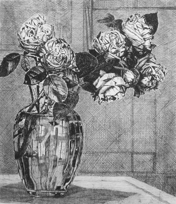 Riflesso in un vaso di rose