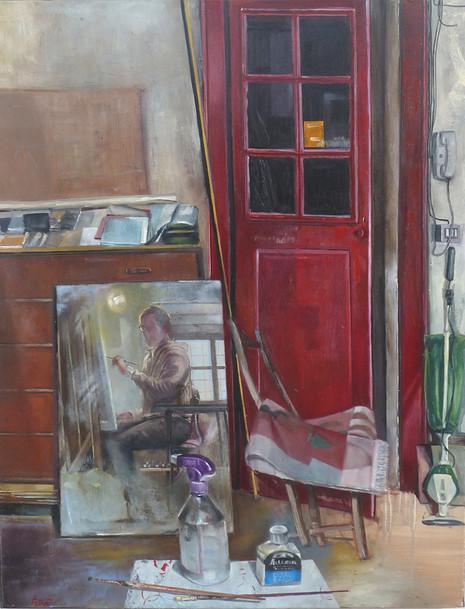 Autoritratto con la porta rossa