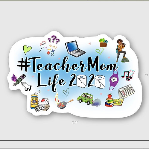 Teacher Mom 2020 Sticker (blue cloud)
