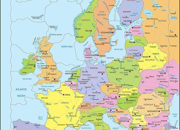 """Puzzle """"Carte politique de l'Europe pour les jeunes enfants"""""""