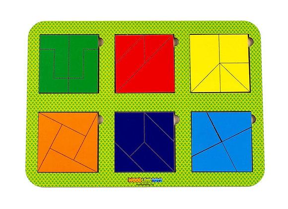 Plier le carré, 6 carrés, niveau 4