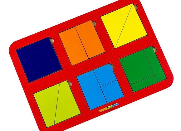 Plier le carré, 6 carrés, niveau 1