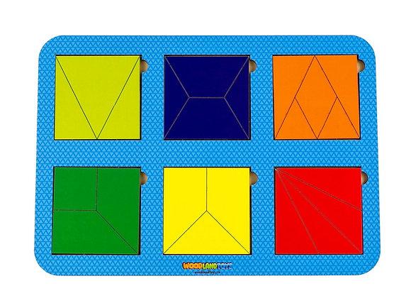 Plier le carré, 6 carrés, niveau 3