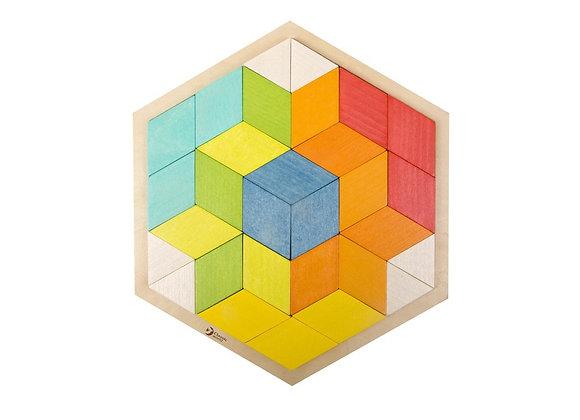 Puzzle 3D coloré en bois du monde classique