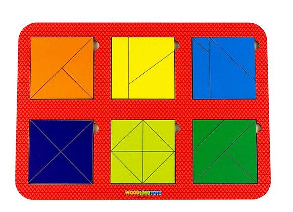 Plier le carré, 6 carrés, niveau 2