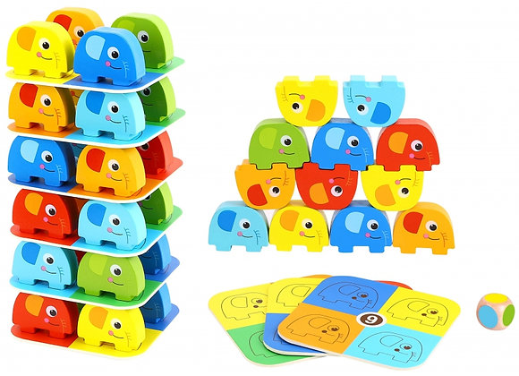 Jeu d'équilibre et d'empilement en bois, Éléphant Tooky Toys