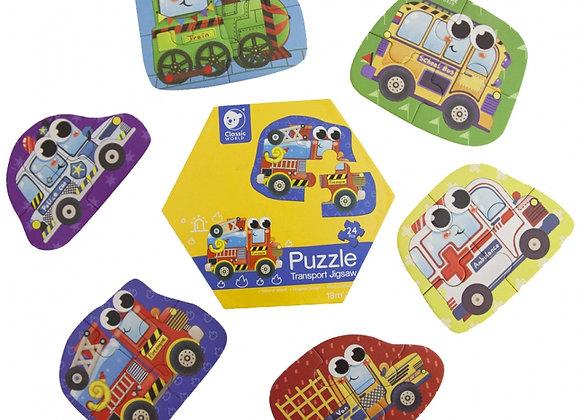 """Puzzle en bois """"Transport"""" (6 Images, 24 pièces)"""