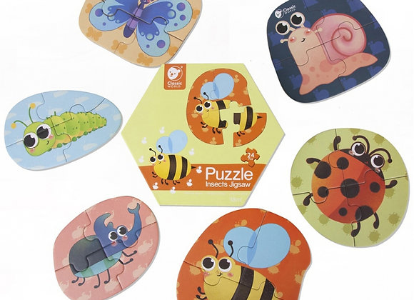 """Puzzle """"Insectes""""  (6 Images, 24 pièces)"""