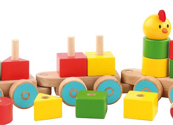 Train en bois multi-activités à tirer - multicolore