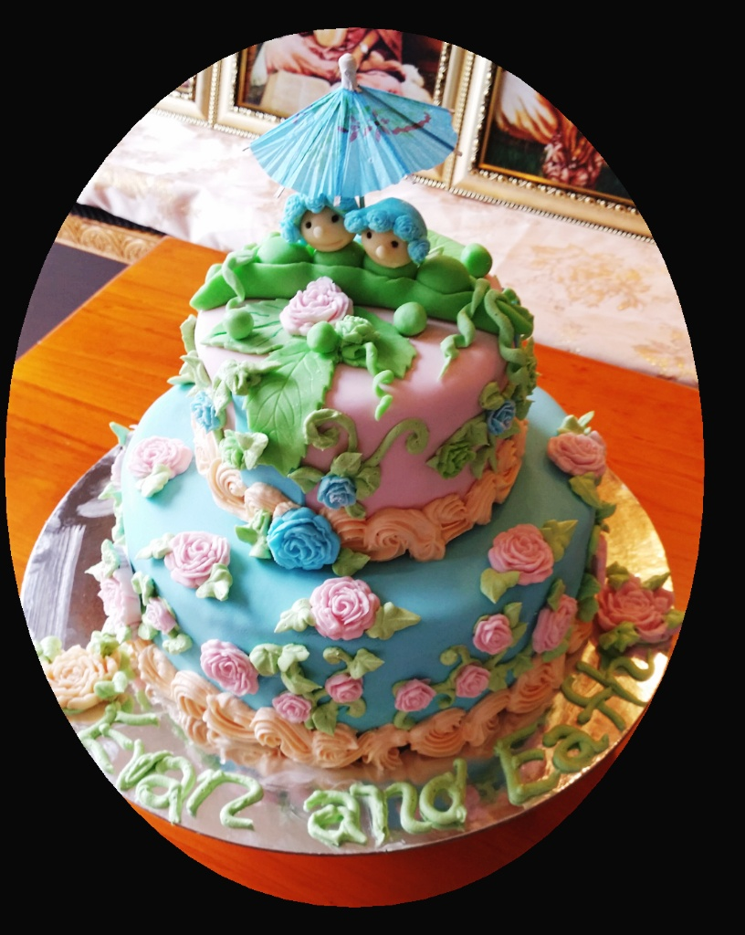 Peapods Theme -Blue & Baby Pink Rose