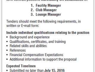 2016-2018 Tender - Apply now!