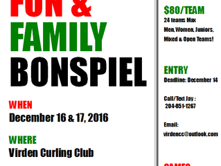 Fun & Family Bonspiel will run Dec 16 & 17