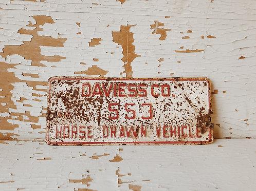 Horse Drawn Vehicle Plate