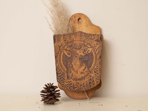 Old Wall Pocket with Elk