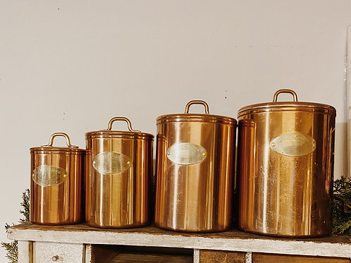 Copper Cannisters Set of 4