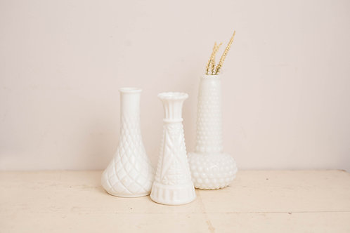Set of 3 Milkglass Vases
