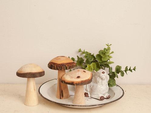 Set of 3 Wooden Mushrooms