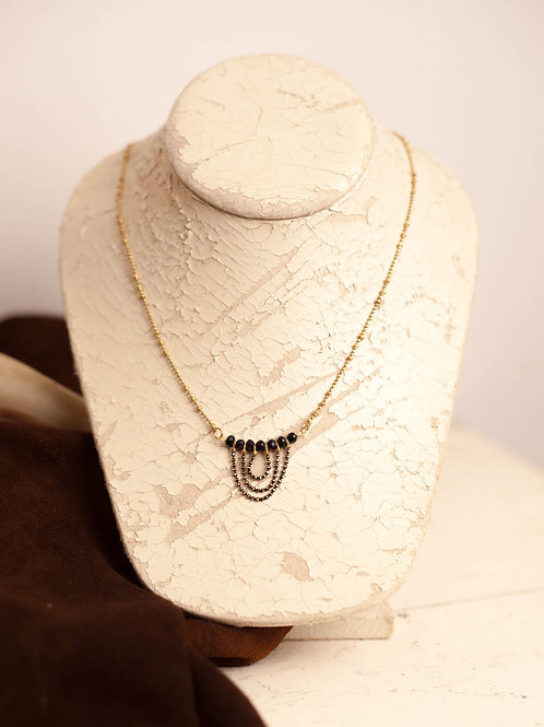 Black Bead Drape Necklace