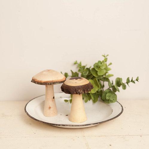 Pair of Wooden Mushrooms