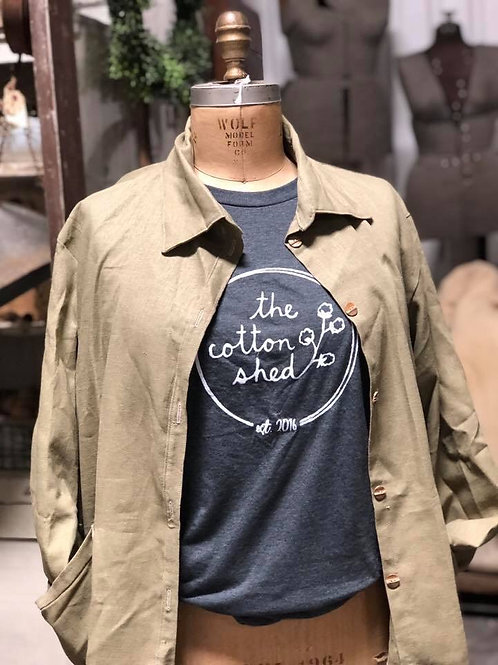 Large Green Cotton Shed T-Shirt