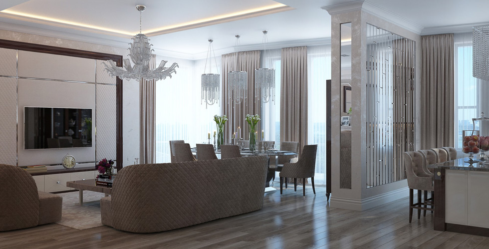 Living room interior in classic style