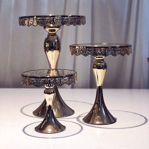 Gold Drop Crystal Dessert Stand (Set of 3)