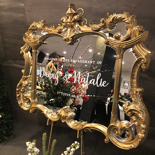 Large Antique Gold Mirror and Easel