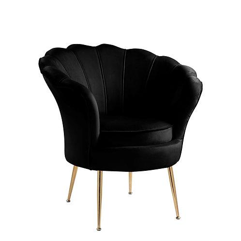 Black Velvet Scallop Chair