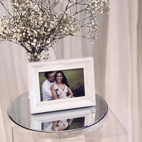 Round Diamante Mirror Base Table Centrepiece