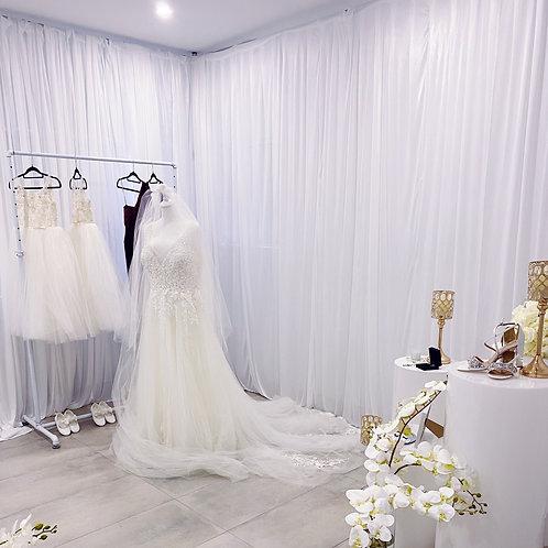 Chiffon White Curtain Set