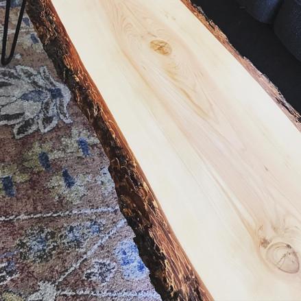 Live edge mid century coffee table