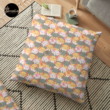 AXOLOTL WAVE - We are the CUTEST CREATURE in the Water World Floor Pillow