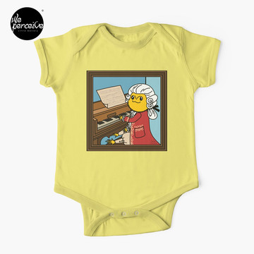 Bearded Dragon Illustration with Wolfgang Amadeus Mozart Cosplay Baby One-Piece in yellow