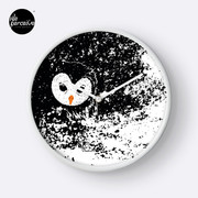 """HATER OWL - """"I'M INNOCENT!"""" black and white hand drawn style illustration Clock"""